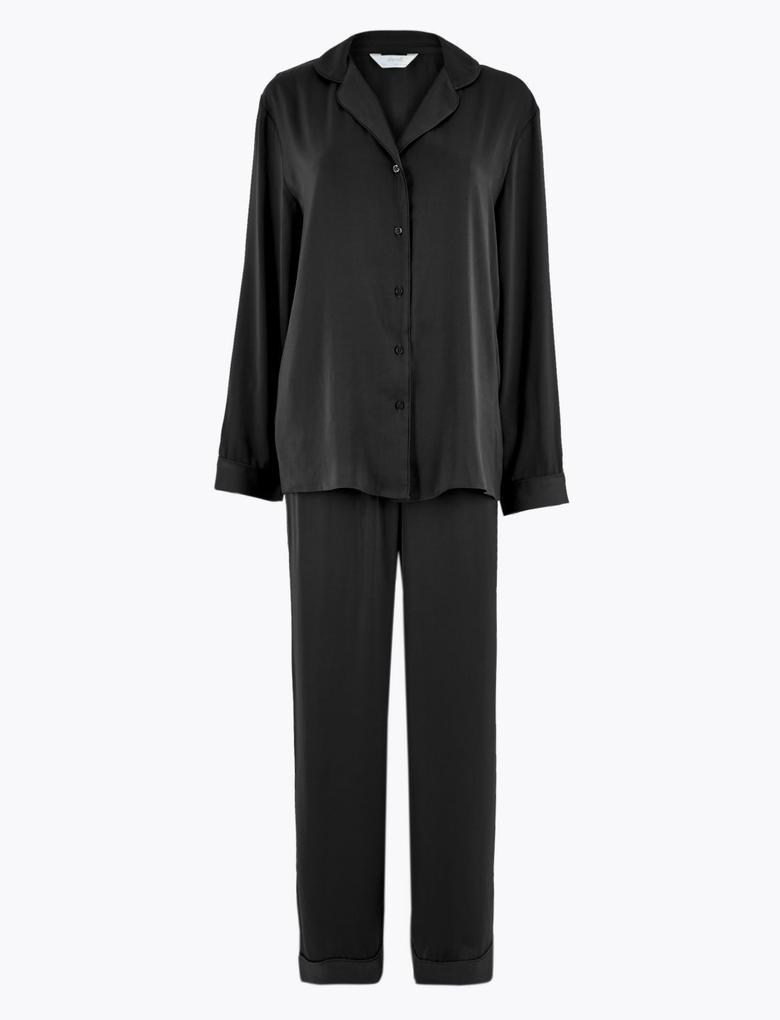 Kadın Siyah Saten Pijama Takımı