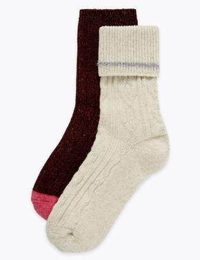 2'li Örgü Desenli Termal Çorap Seti