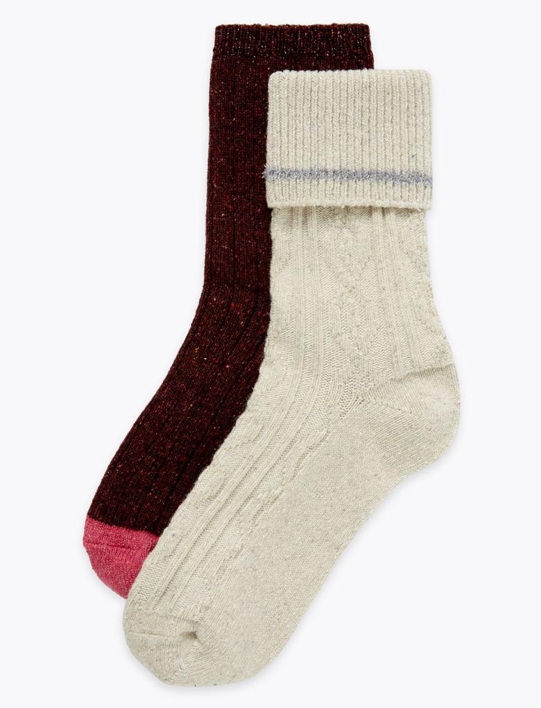 Kadın Bej 2'li Örgü Desenli Termal Çorap Seti