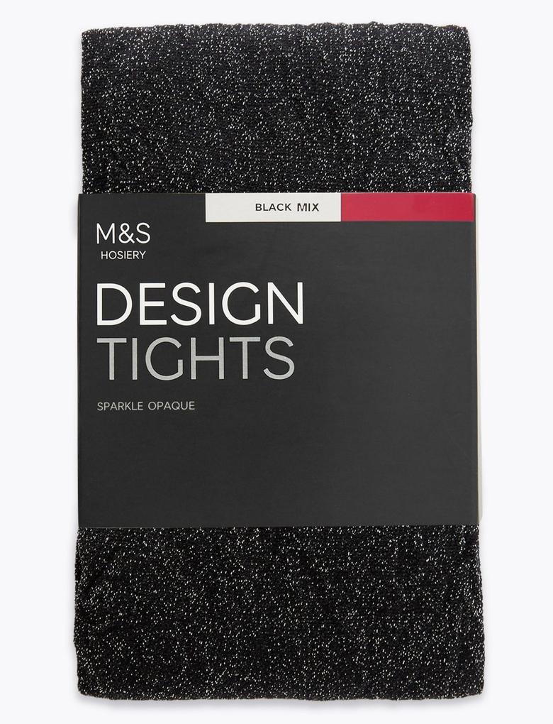Siyah Metalik Pırıltılı Opak Külotlu Çorap