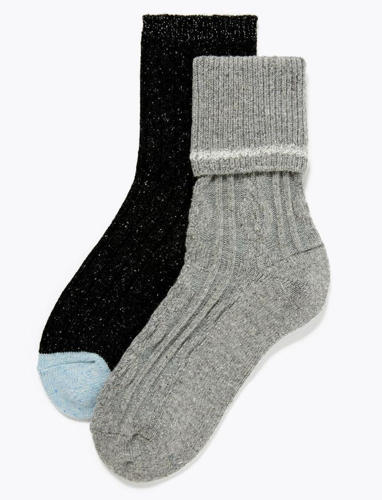 Kadın Siyah 2'li Örgü Desenli Termal Çorap Seti