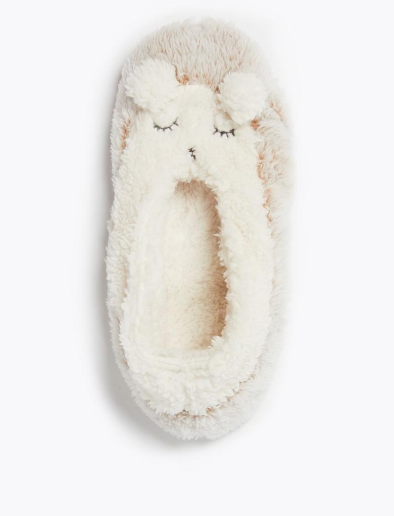 Kadın Bej Polar Astarlı Kirpi Şeklinde Patik
