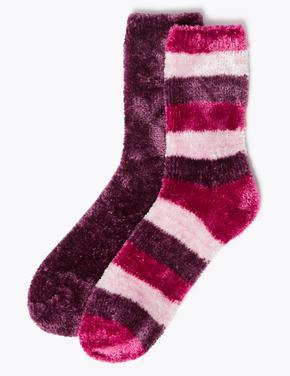 Kadın Mor 2'li Çizgili Kadife Çorap Seti