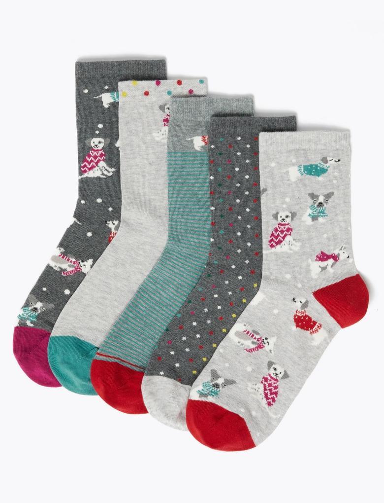 5'li Desenli Çorap Seti