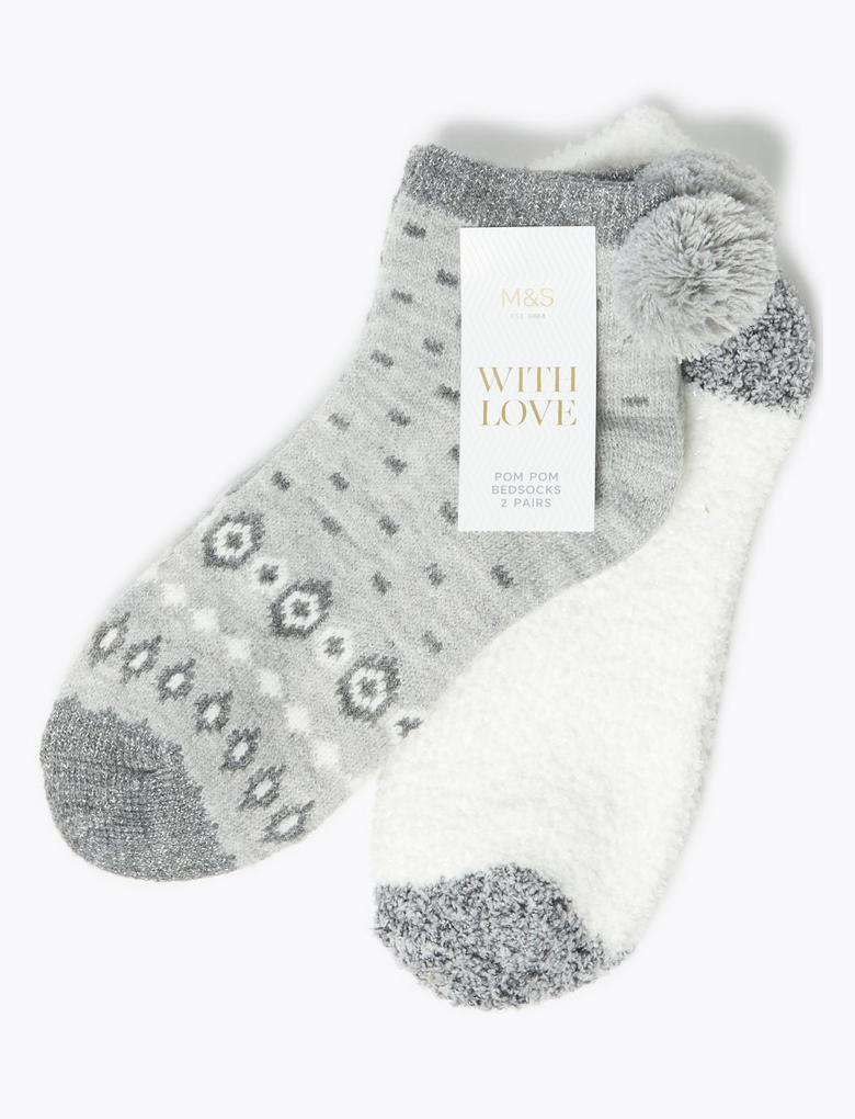 Kadın Gri 2'li Ponponlu Ankle Çorap Seti