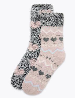 Kadın Pembe 2'li Kalp Desenli Yumuşak Çorap Seti