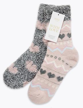 2'li Kalp Desenli Yumuşak Çorap Seti