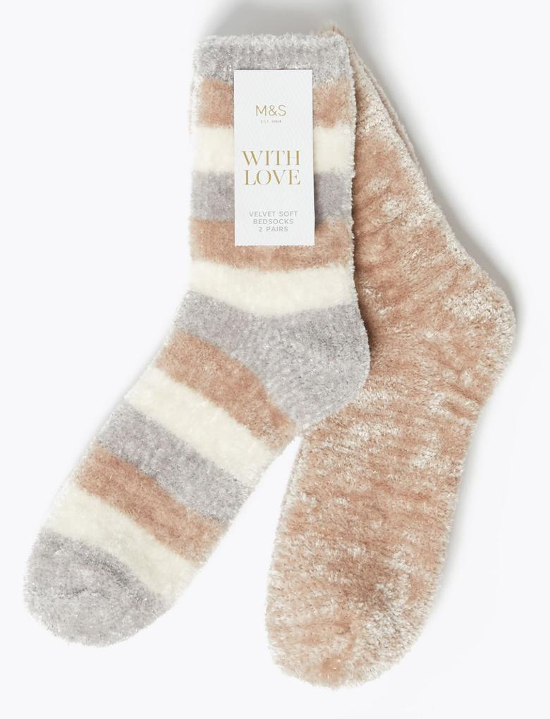 2'li Çizgili Kadife Çorap Seti