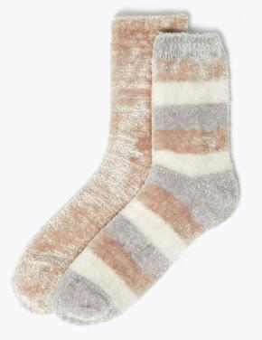 Kadın Gri 2'li Çizgili Kadife Çorap Seti