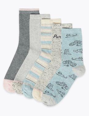 Kadın Gri 5'li Desenli Çorap Seti