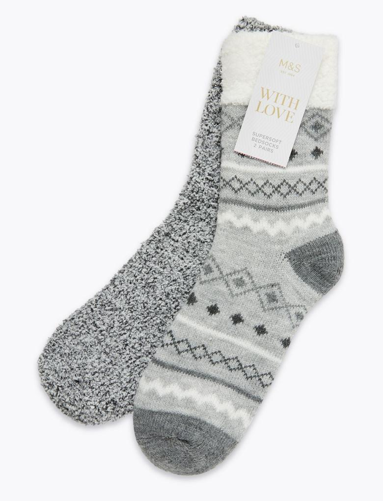 Kadın Gri 2'li Yumuşak Çorap Seti
