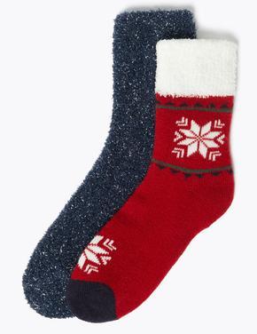 Kadın Kırmızı 2'li Kar Tanesi Desenli Çorap Seti