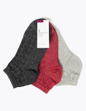 Kadın Siyah 3'lü Soket Çorap Seti