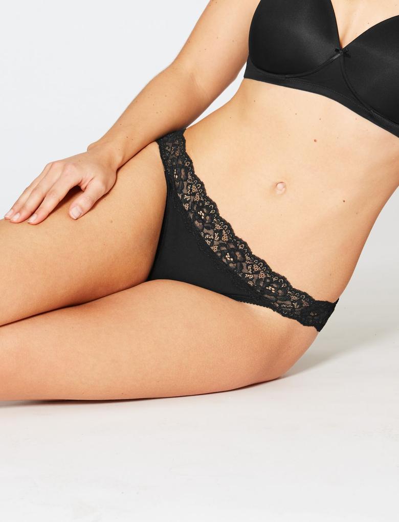 Siyah 5'li Dantelli Bikini Külot Seti
