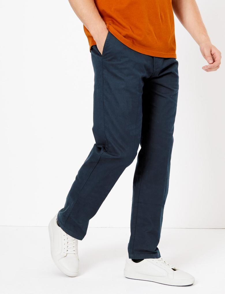 Lacivert Regular Fit Chino Pantolon