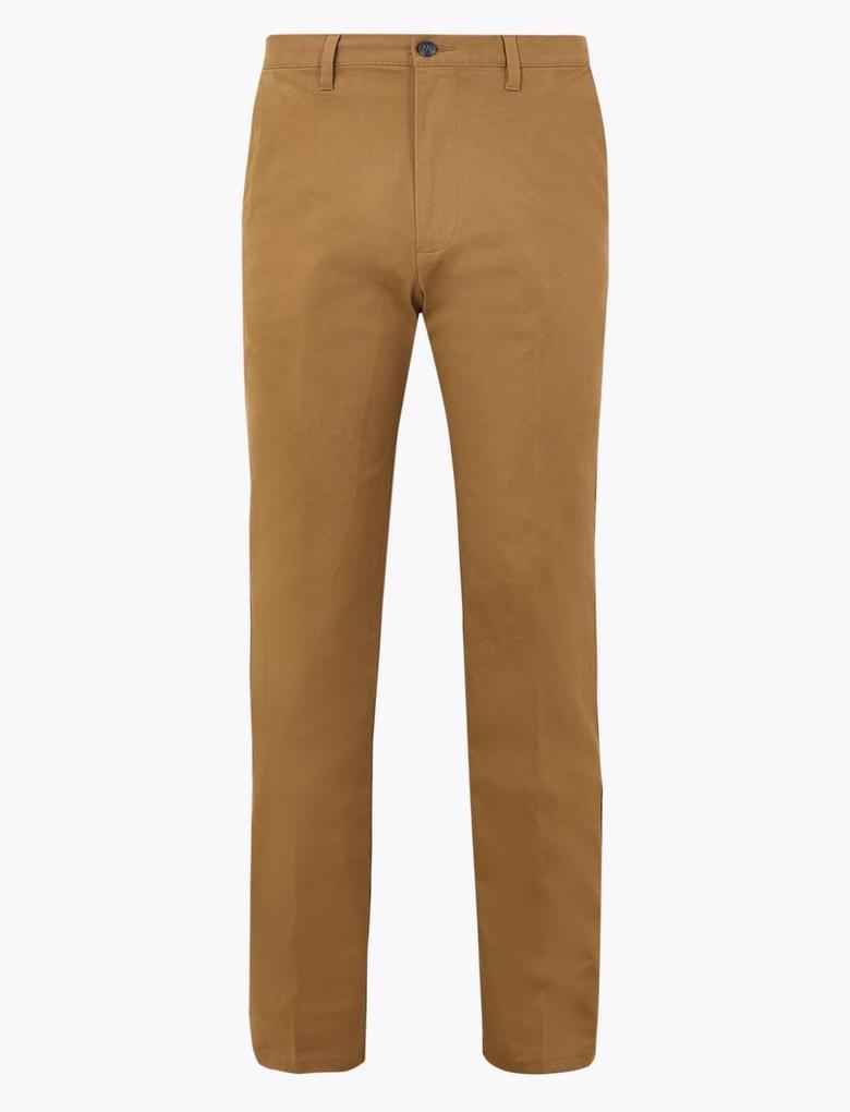 Erkek Bej Regular Fit Chino Pantolon