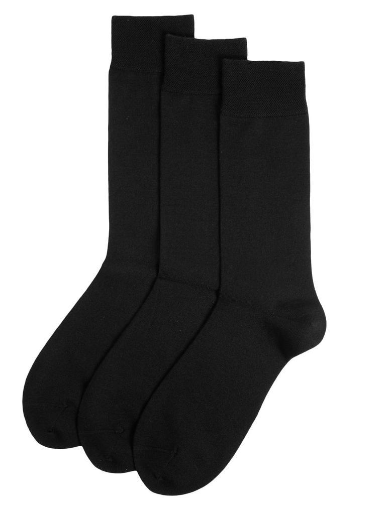 Erkek Siyah 3'lü Merino Yün Çorap Seti