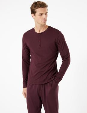 Erkek Mor Flexifit™ Pamuklu Pijama Üstü