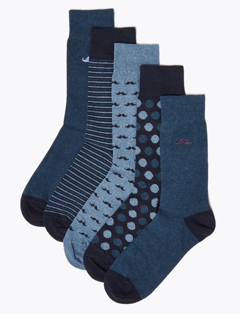 5'li Cool & Fresh™ Desenli Çorap Seti