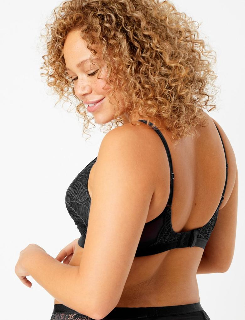 Kadın Siyah Dantelli Balensiz Plunge Sütyen