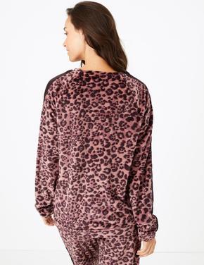 Kadın Renksiz Polar Desenli Pijama Üstü