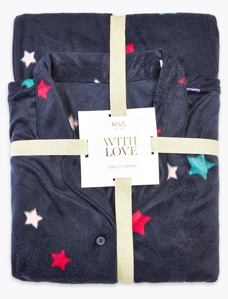 Lacivert Polar Yıldız Desenli Pijama Takımı