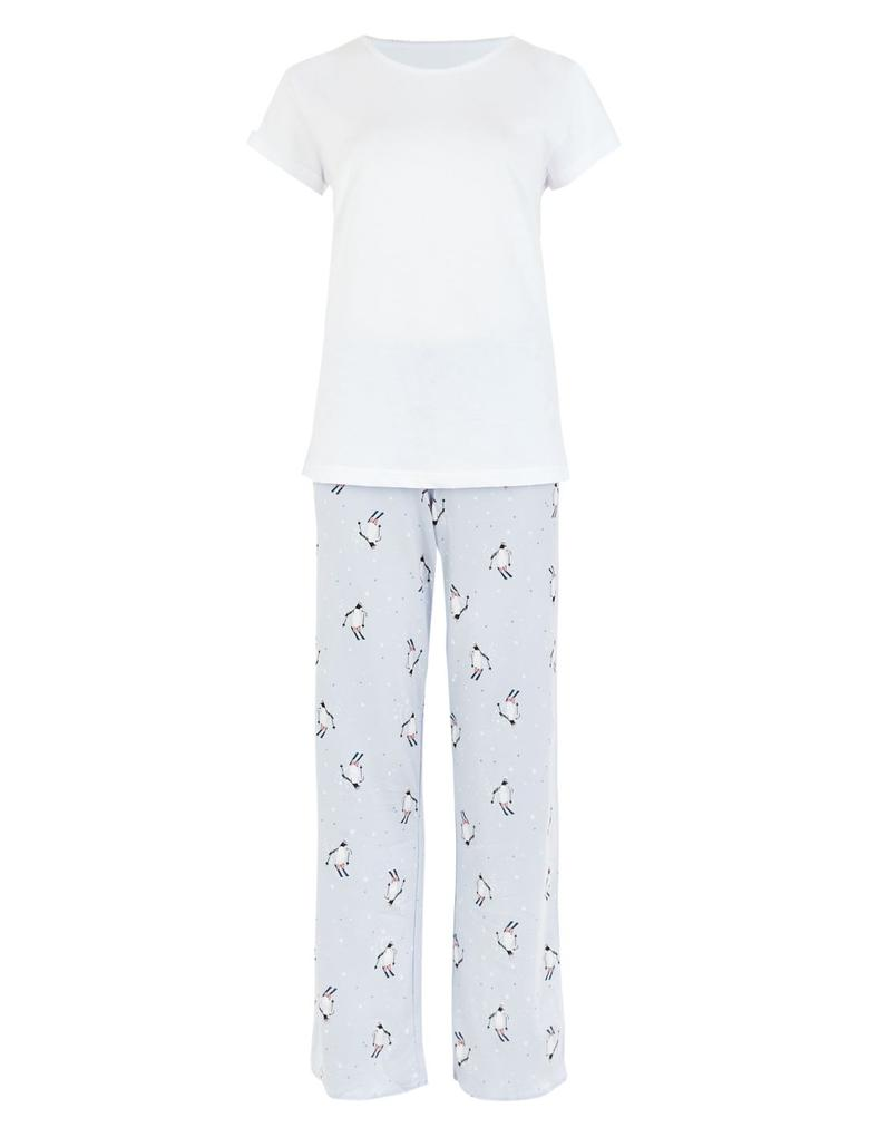 Kadın Mavi Penguen Desenli Kısa Kollu Pijama Takımı