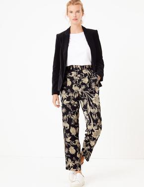 Kadın Siyah Çiçek Desenli Tapered Ankle Pantolon