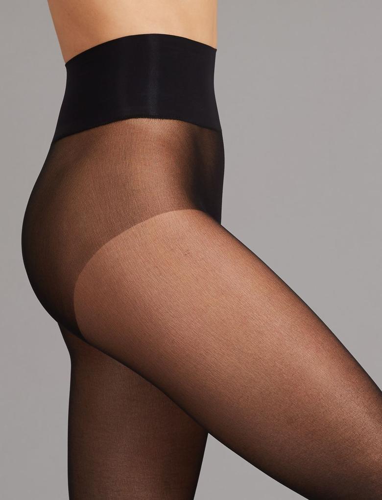 Kadın Siyah Dikişsiz Kaçmaya Dayanıklı Şeffaf Külotlu Çorap