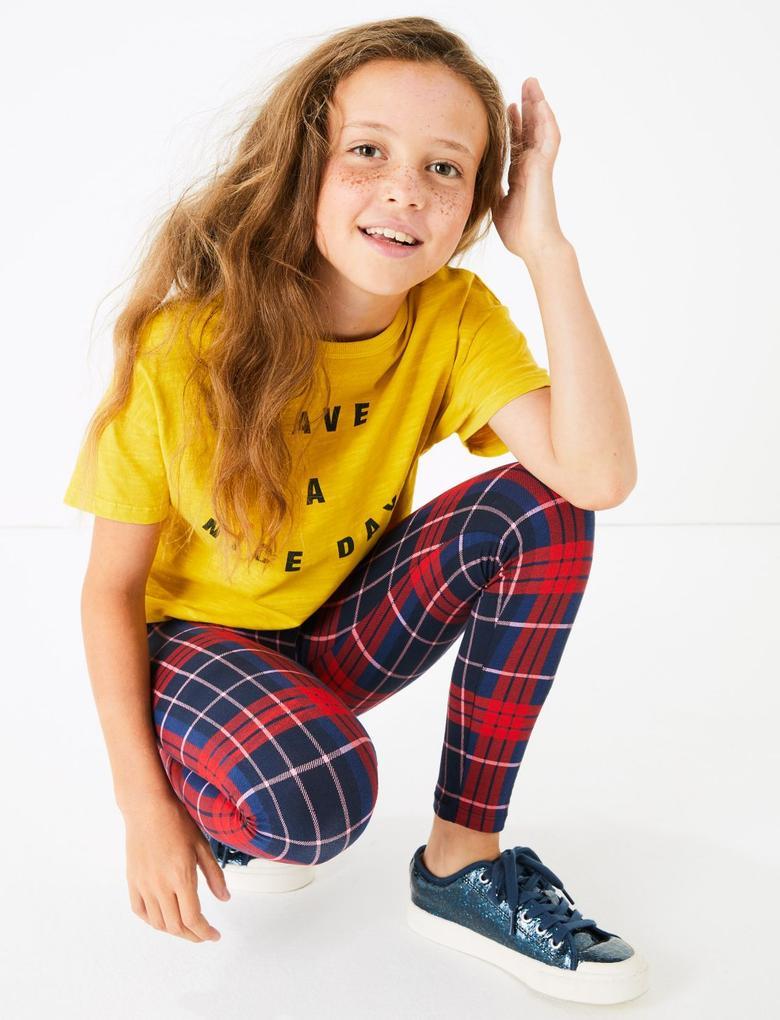 Kız Çocuk Kırmızı Ekose Tayt