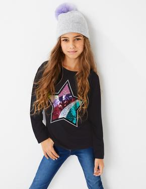 Kız Çocuk Beyaz Payetli Yıldız İşlemeli T-Shirt