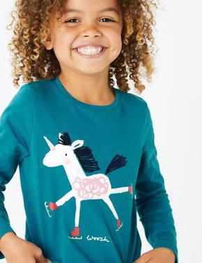 Unicorn Desenli Uzun Kollu T-Shirt