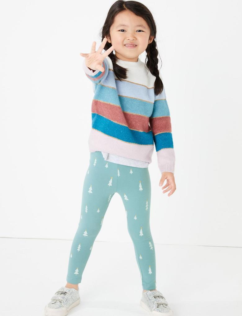 Kız Çocuk Lacivert 3'lü Desenli Tayt Seti