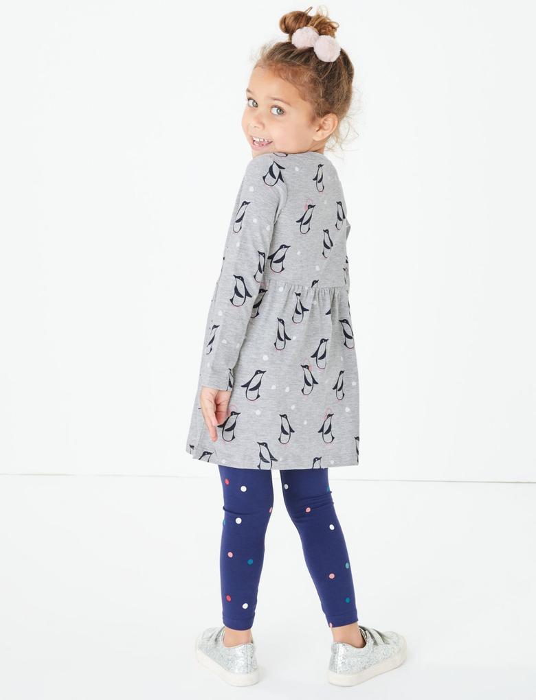 Gri Penguen Desenli Elbise