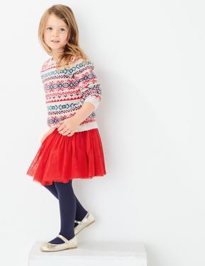 Kız Çocuk Kırmızı Tütü Etek Ve Külotlu Çorap Takımı