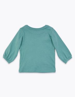 Tilki Desenli Uzun Kollu T-Shirt