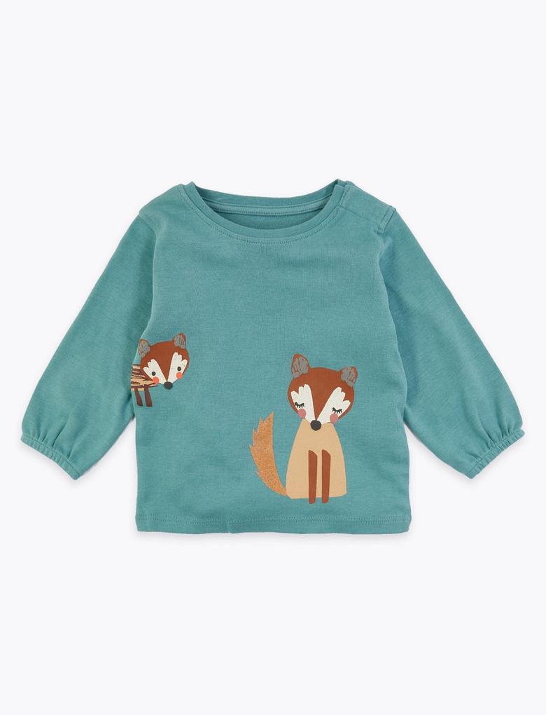 Bebek Yeşil Tilki Desenli Uzun Kollu T-Shirt