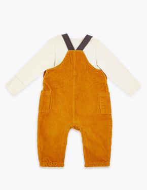 Bebek Sarı 2 Parça Kadife Salopet ve Body Takımı