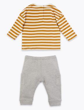 Bebek Sarı 2 Parça Jarse Çizgili Alt Üst Takım
