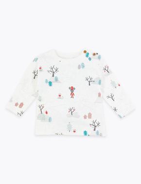 Bebek Multi Renk Kış Desenli Uzun Kollu T-Shirt