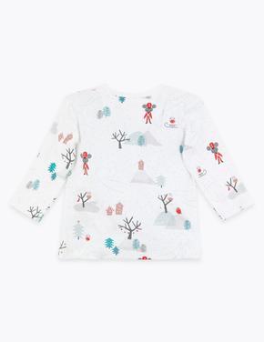 Kış Desenli Uzun Kollu T-Shirt