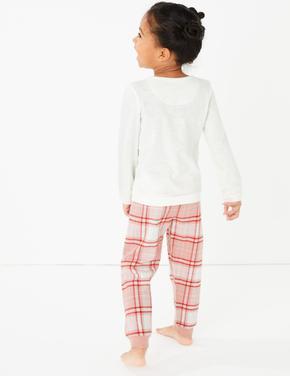 Unicorn Desenli Ekose Pijama Takımı