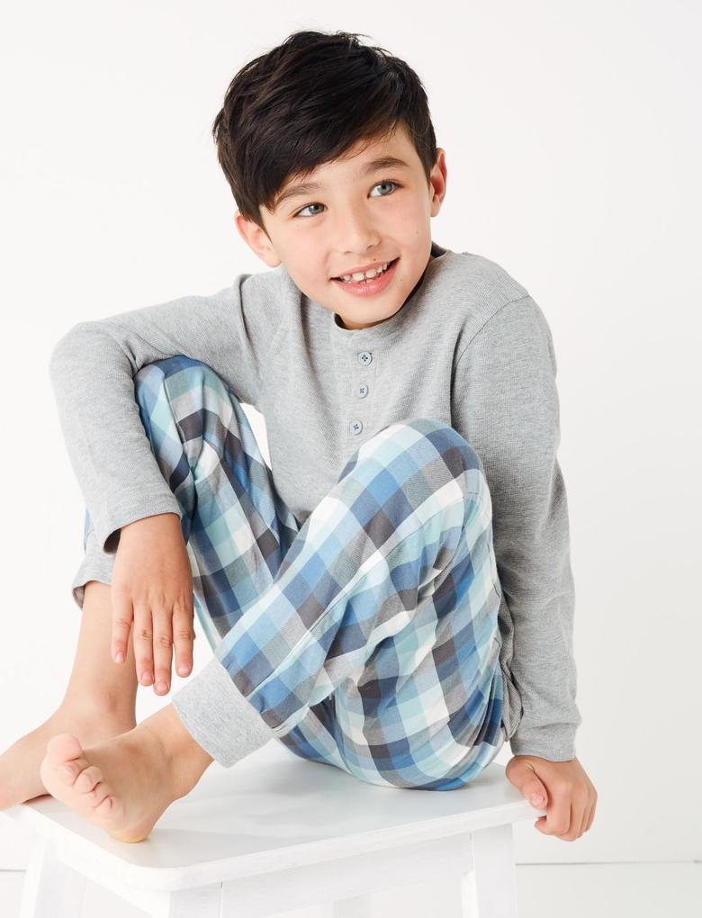 Mavi 2'li Ekose Pijama Seti