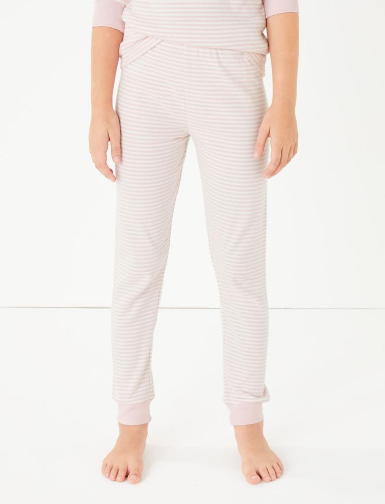 Pembe Geyik Desenli Çizgili Pijama Takımı