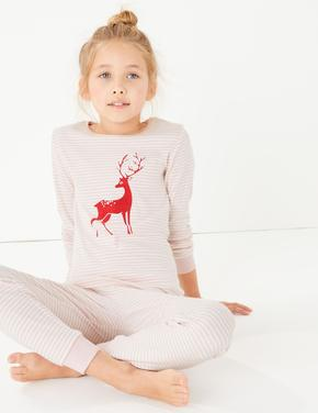 Geyik Desenli Çizgili Pijama Takımı
