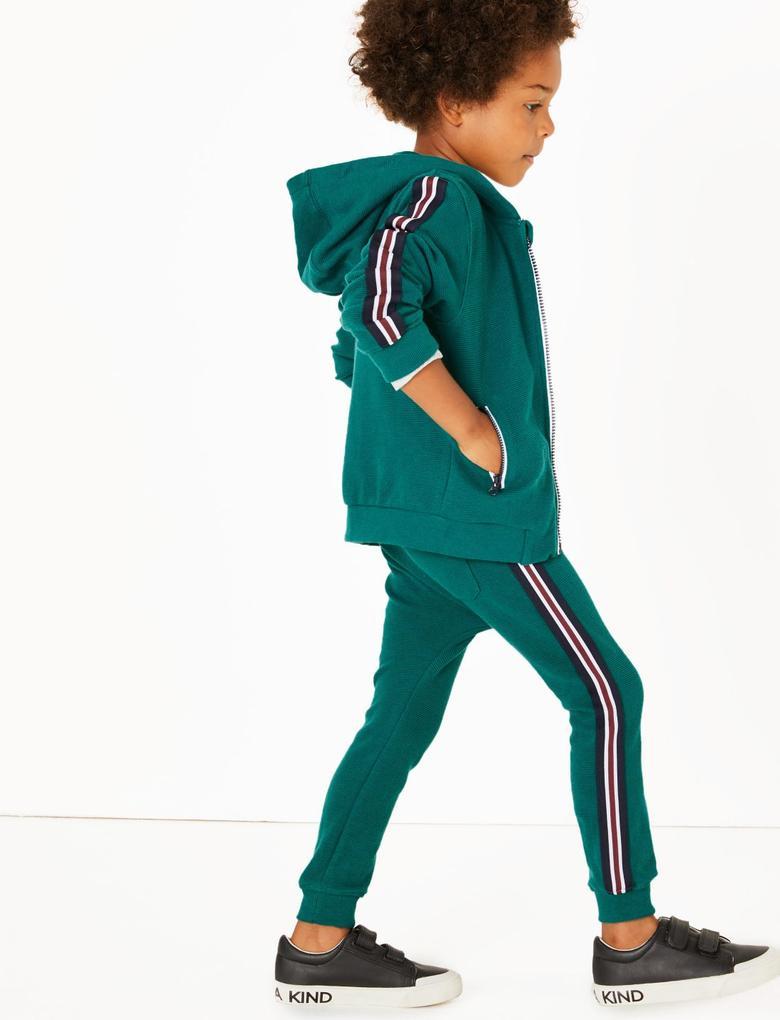 Erkek Çocuk Yeşil Saf Pamuklu Jarse Eşofman Altı