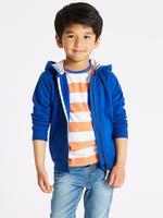 Erkek Çocuk Mavi Fermuarlı Kapüşonlu Sweatshirt