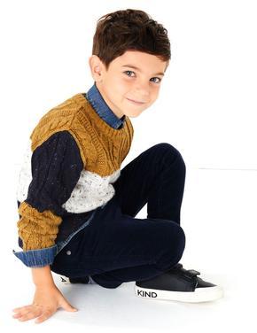 Erkek Çocuk Bej Renk Bloklu Kazak