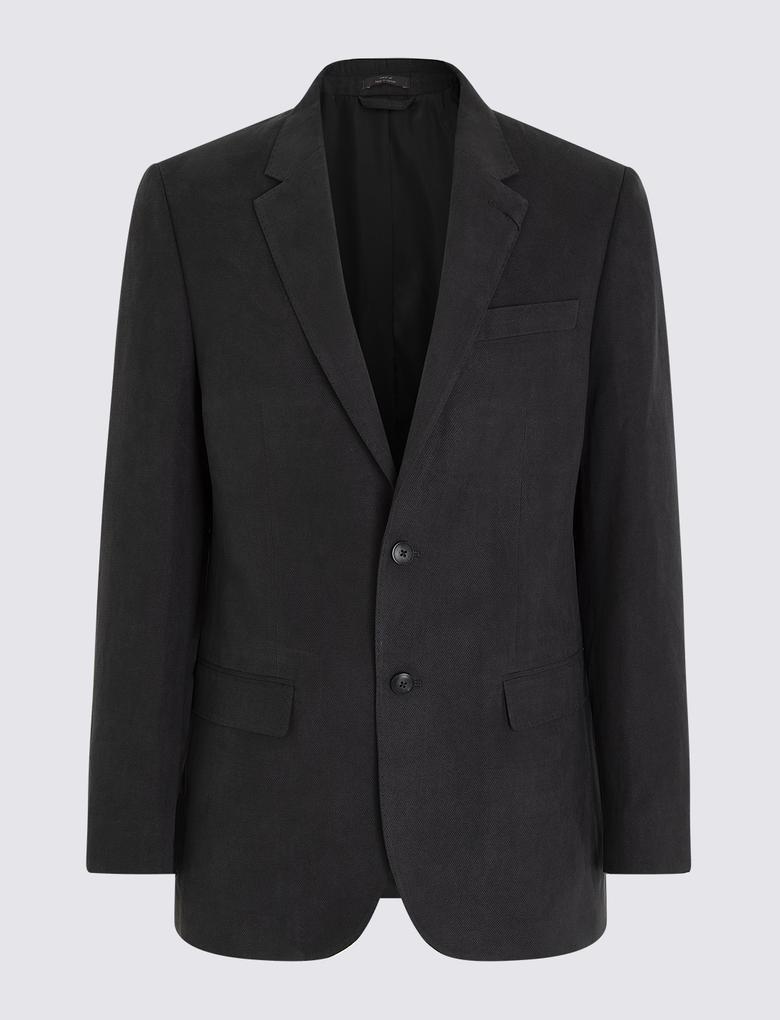 Erkek Siyah Regular Fit Ceket