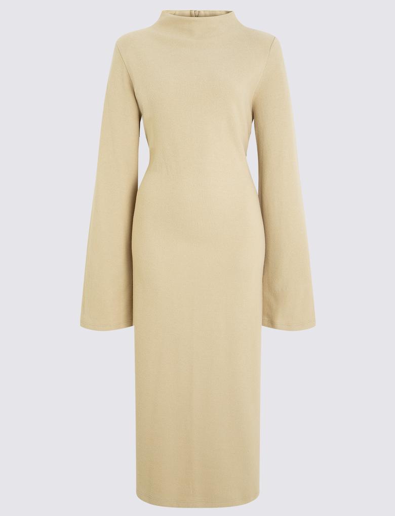 Sarı Cosy Midi Elbise